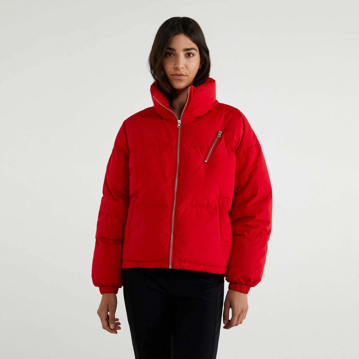 Puffer jacket with high neck
