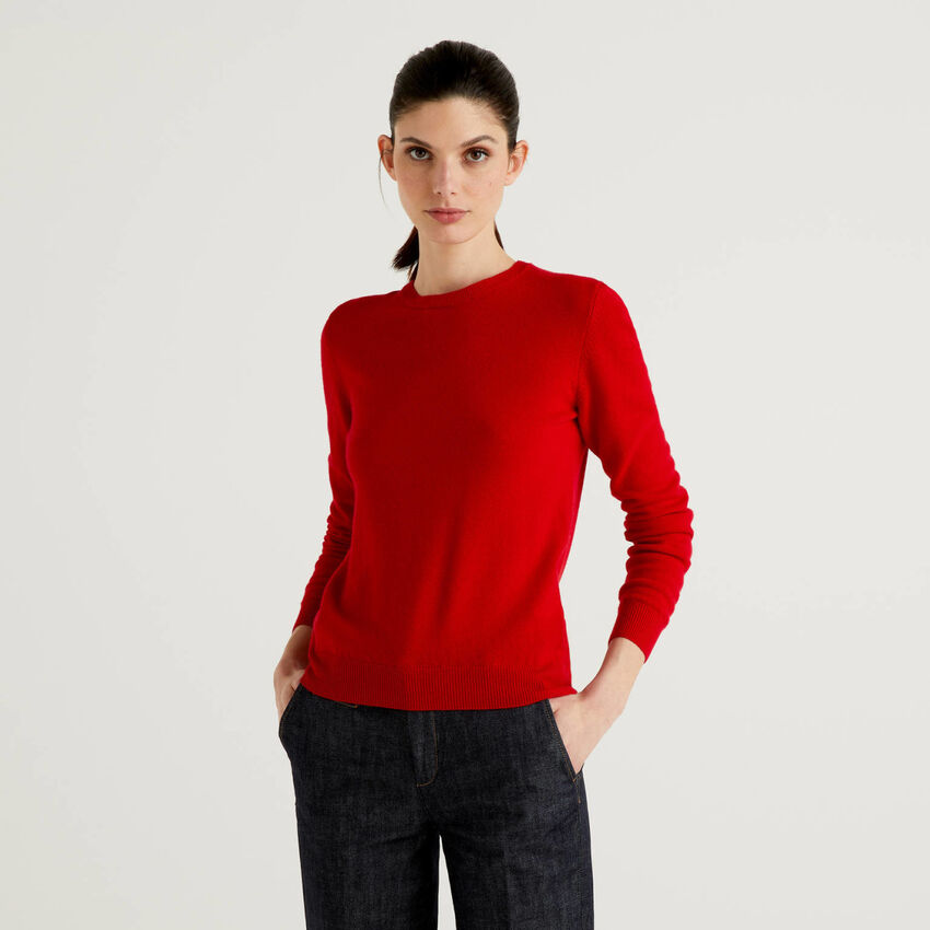 Pull rouge col rond en pure laine vierge