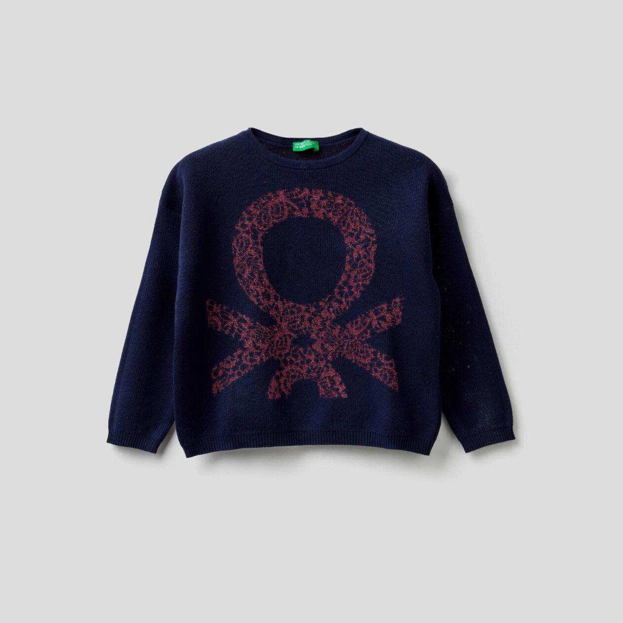 Boxy-Pullover mit Intarsienarbeit