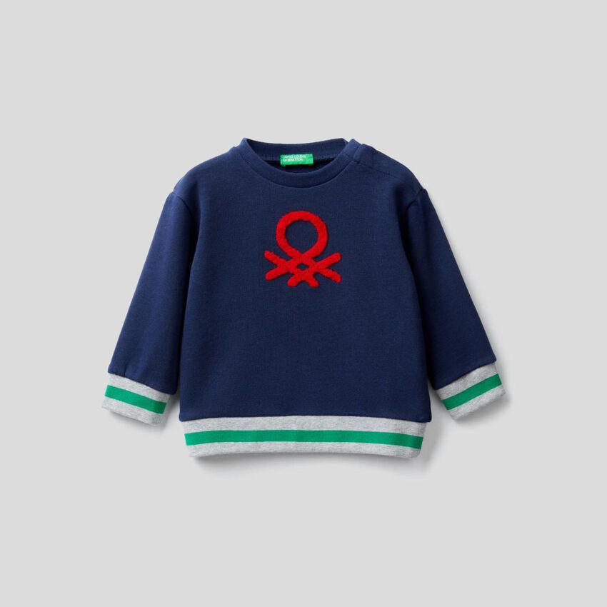 Sweatshirt aus reiner Baumwolle mit aufgesticktem Logo