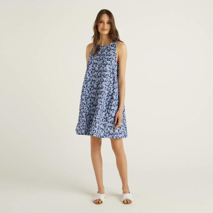 Kleid aus 100% Leinen mit Musterprint