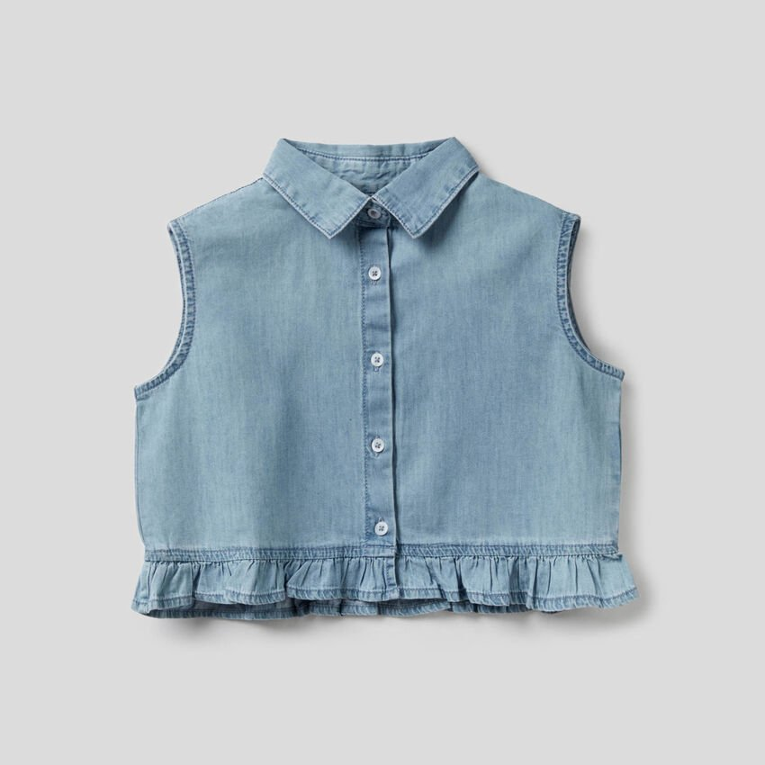 Sleeveless blouse with rouches