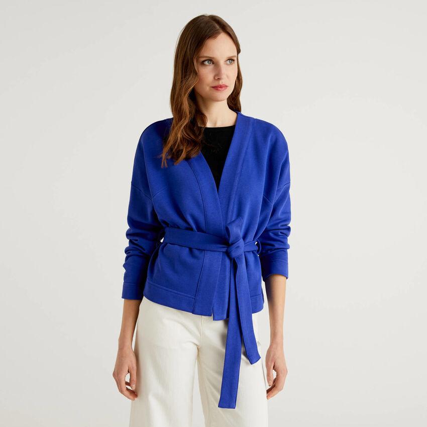Sweatstoff-Cardigan im Kimonostil