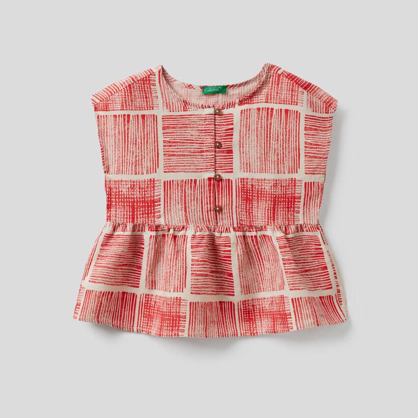 Bluse mit kurzen Ärmeln und Print
