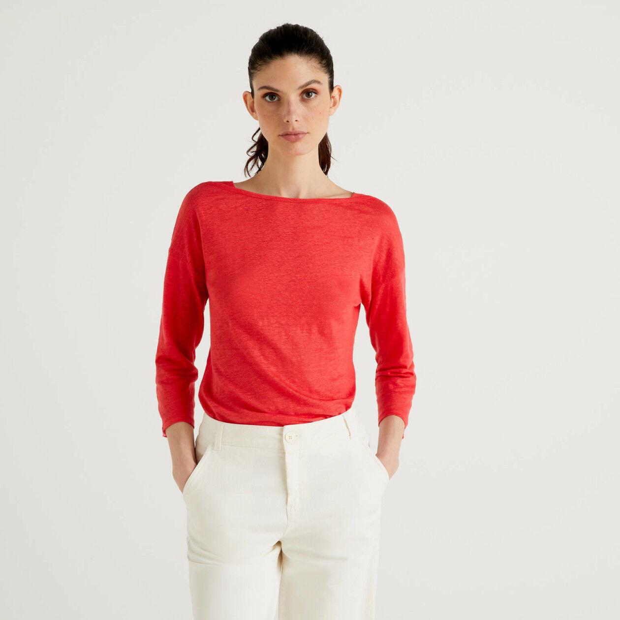T-Shirt aus 100% Leinen mit 3/4-Ärmeln