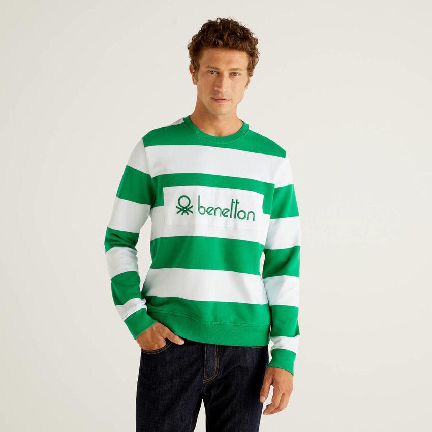 Striped sweatshirt in 100% organic cotton