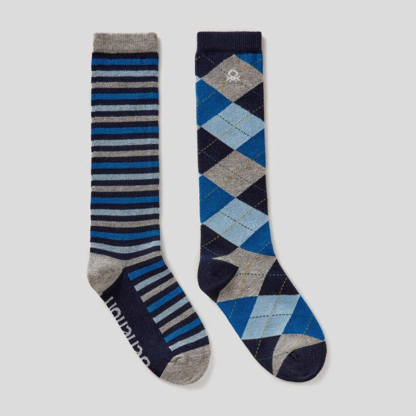 2er-Pack lange Socken mit Muster