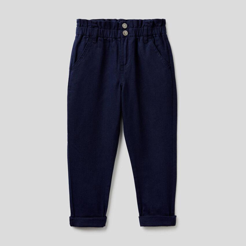 Pantalon paperbag en coton bio
