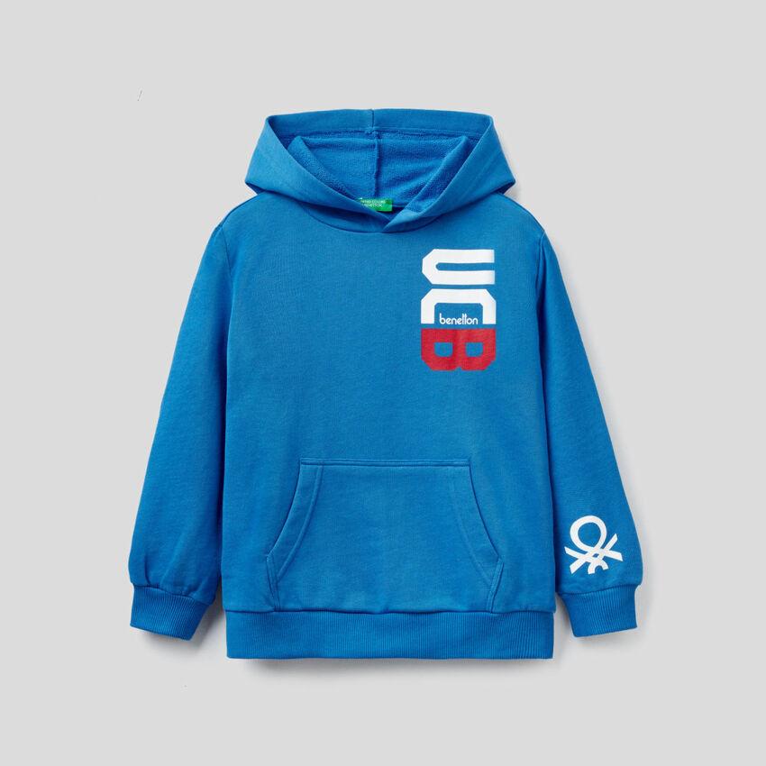 Sweatshirt mit Kapuze in Bluette