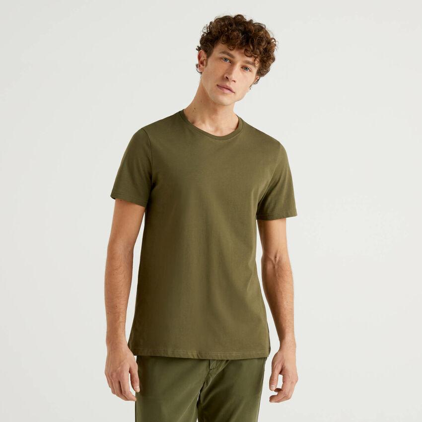 T-shirt vert kaki en pur coton