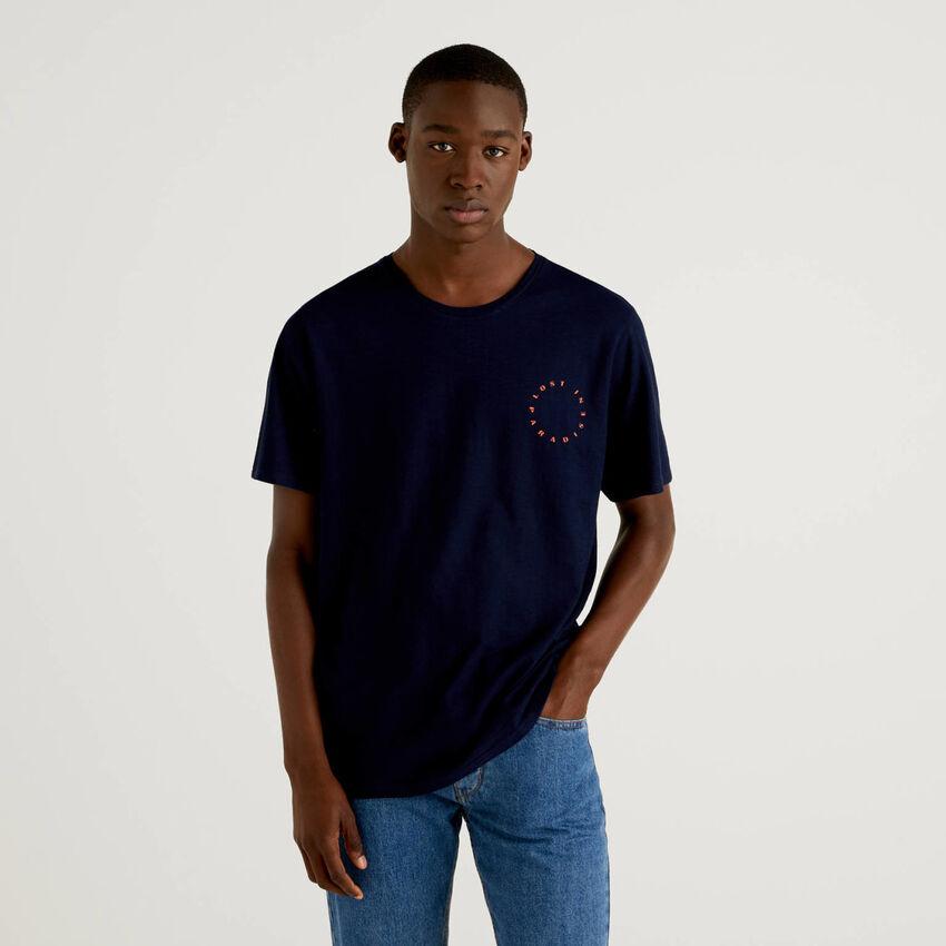 Dunkelblaues T-Shirt mit Fotoprint