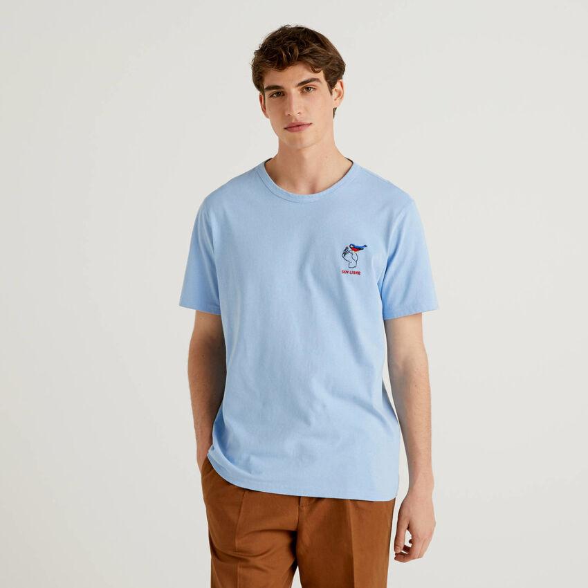 T-Shirt aus reiner Baumwolle mit Stickerei