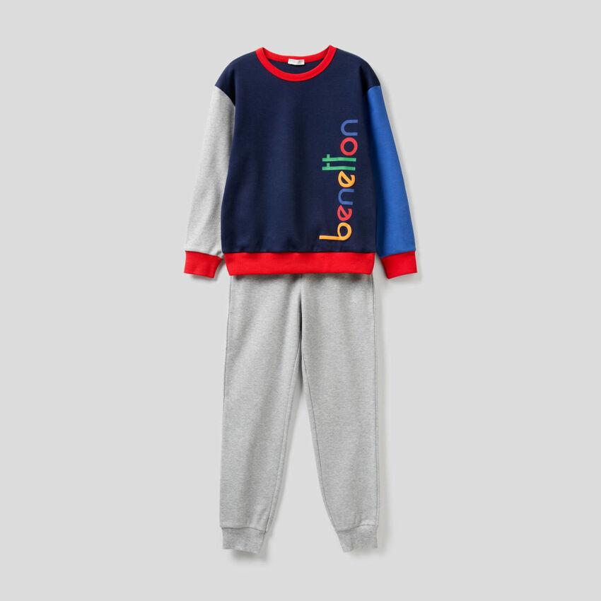Pyjama color block en pur coton