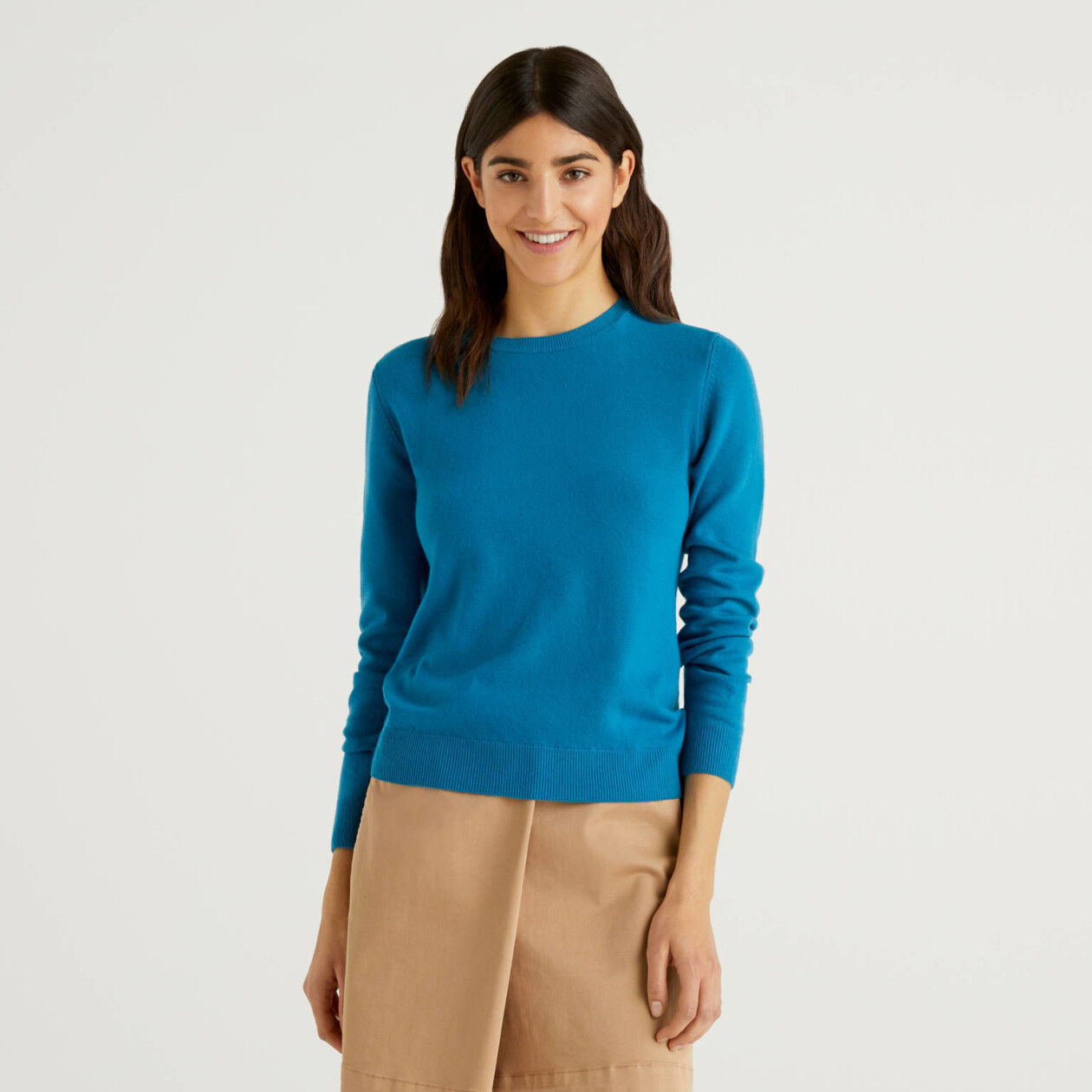 Teal crew neck sweater in pure virgin wool