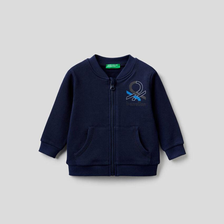 Sweatshirt aus Bio-Baumwolle mit Reißverschluss