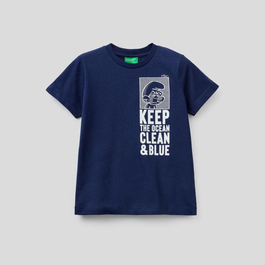 Dunkelblaues T-Shirt mit Print Die Schlümpfe