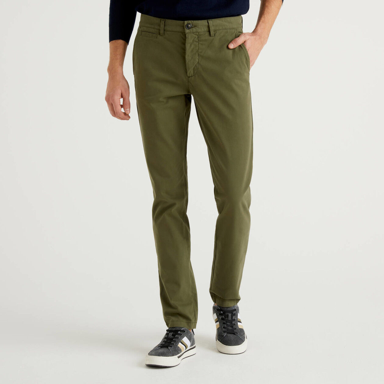 Military green slim fit chinos