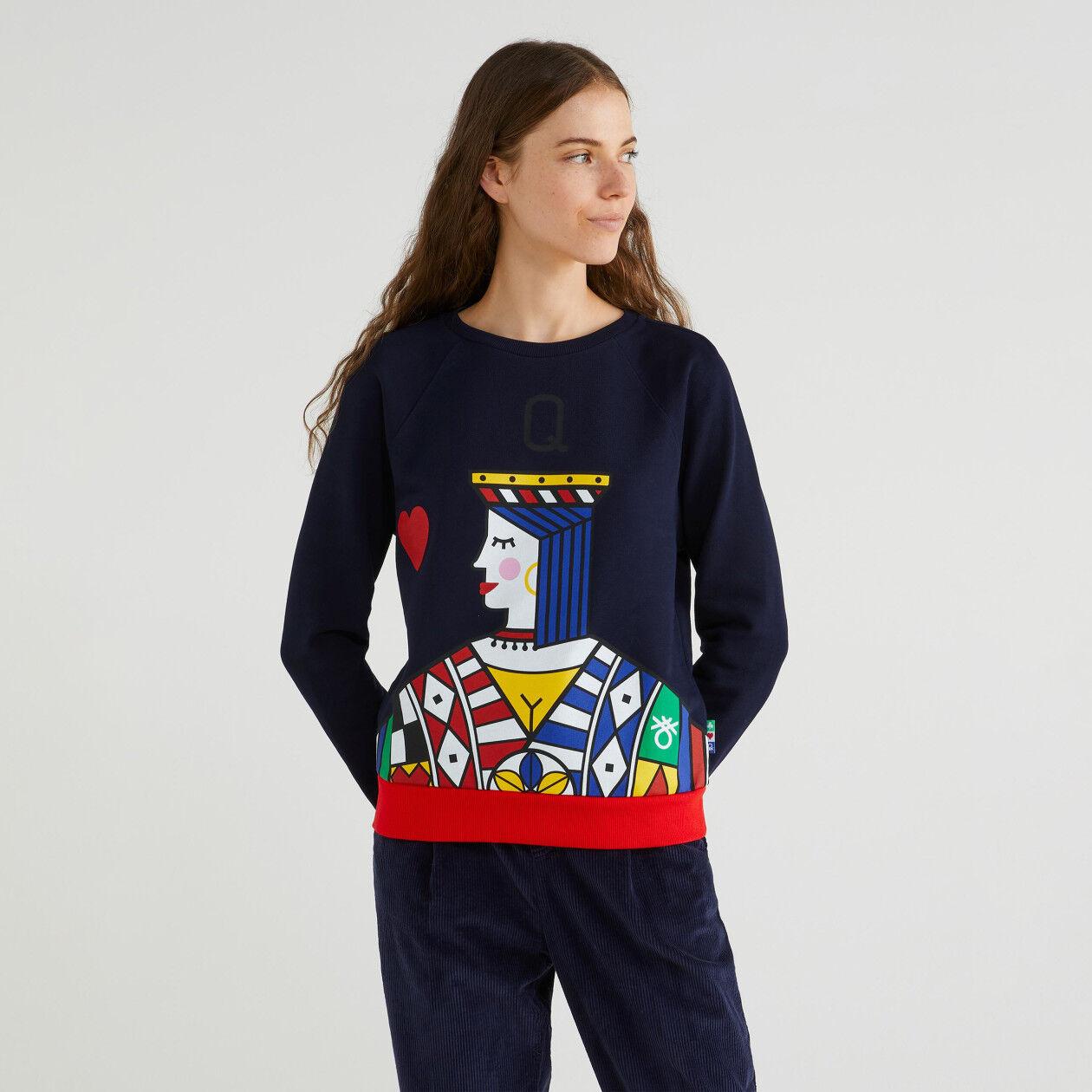 """""""Queen of hearts"""" print sweatshirt"""