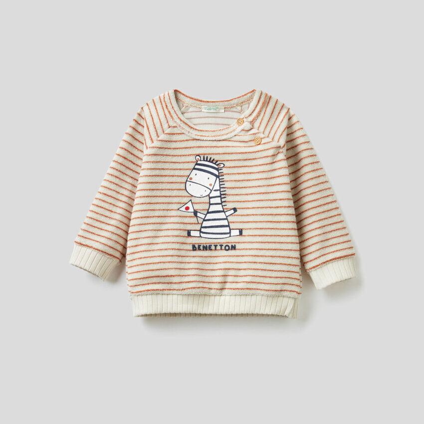 Gestreiftes Sweatshirt mit Frottee-Effekt
