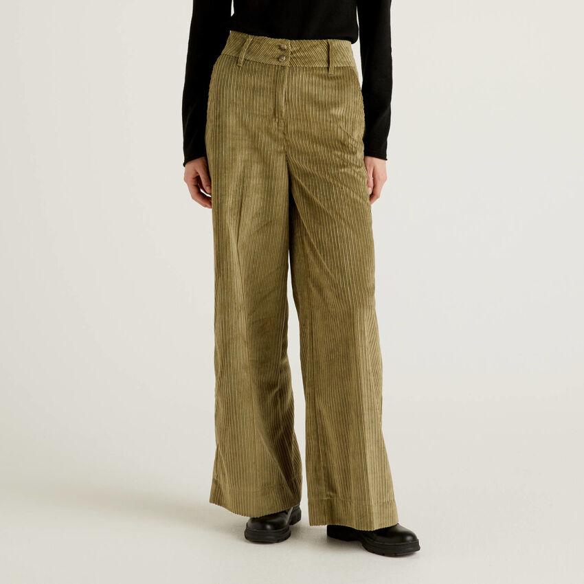 Velvet palazzo trousers