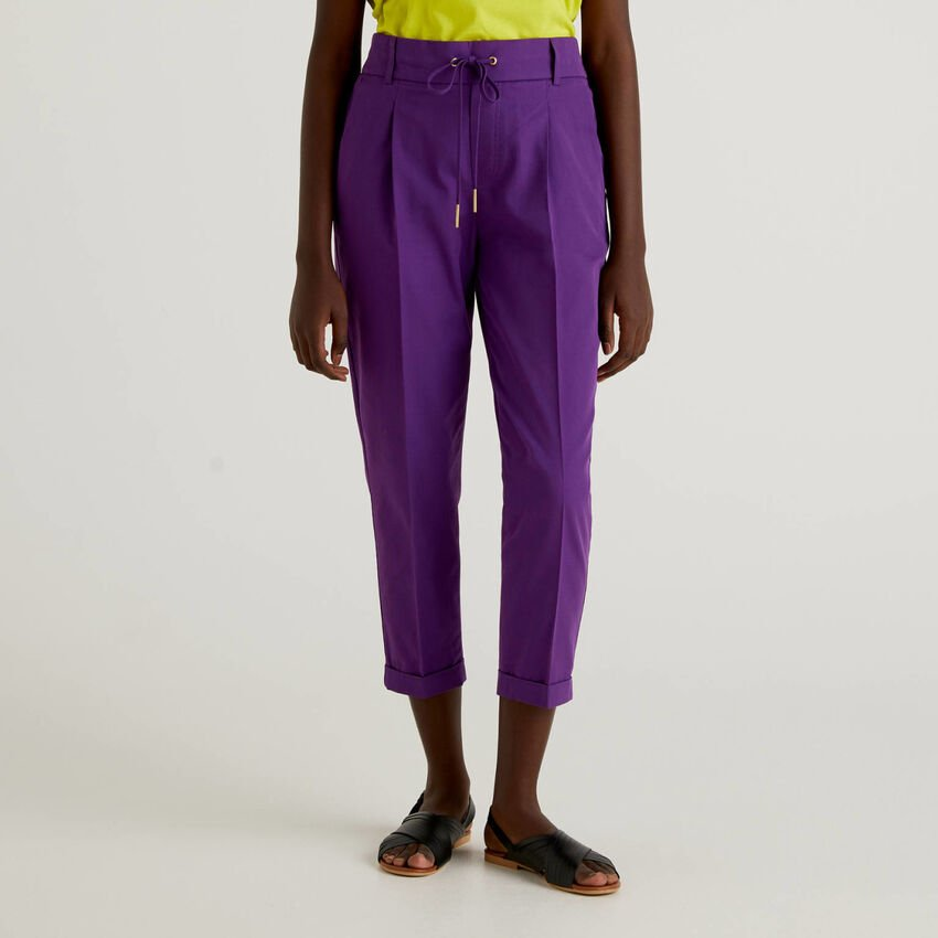 Cotton trousers with drawstring