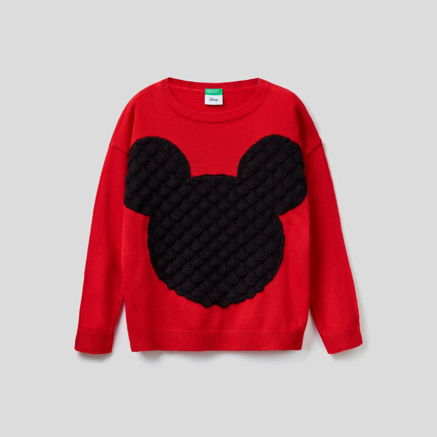 Sweater with Mickey Mouse embossed inlay