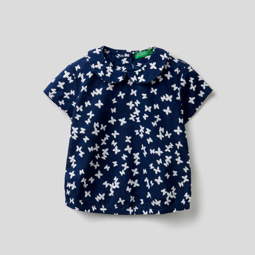 Printed pure cotton blouse