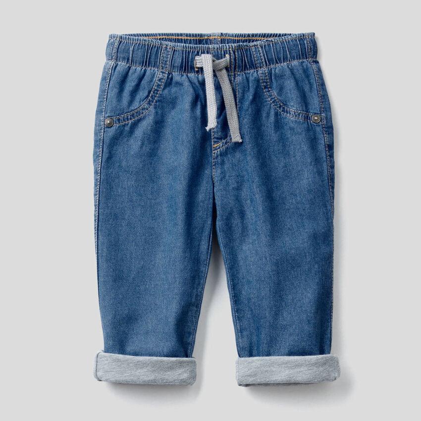 Pantalon doublé en jeans léger