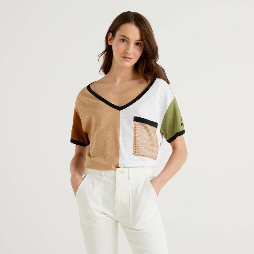 T-shirt color block en coton et lin mélangés
