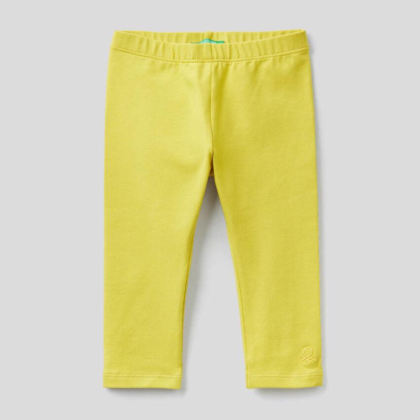 Legging jaune en coton stretch
