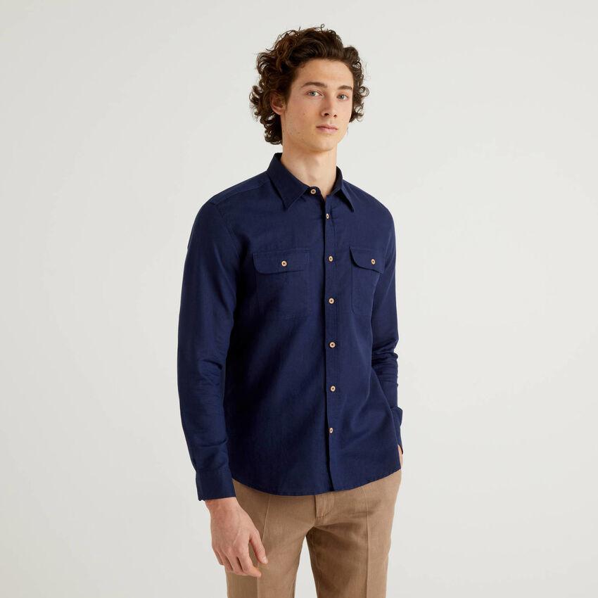 Regular-Fit-Hemd in einer Mischung aus Leinen und Baumwolle