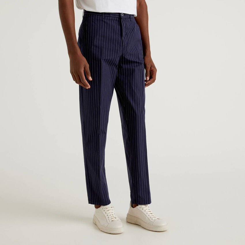 Pinstripe trousers in pure cotton