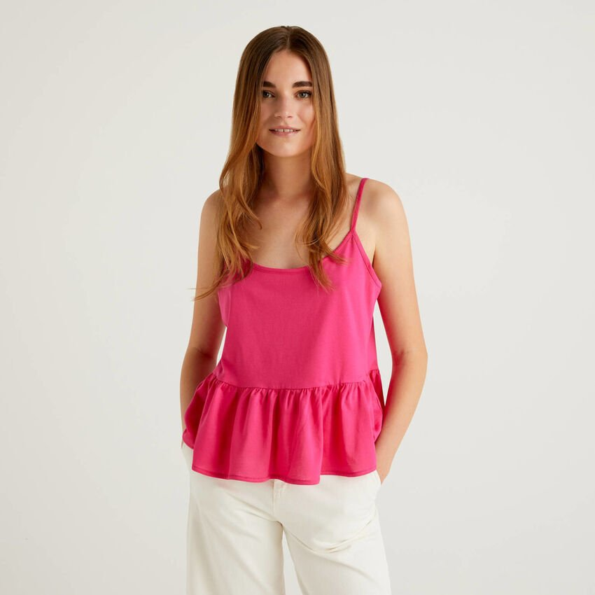 Top with shoulder straps with frill in 100% cotton