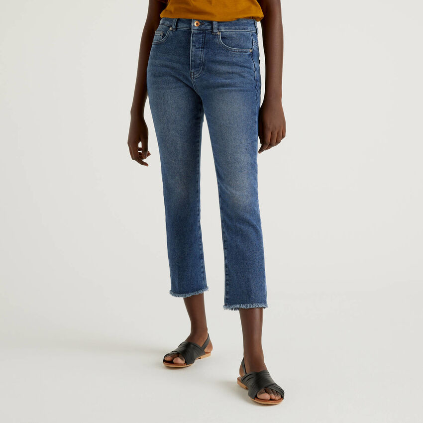 Cropped five pocket jeans