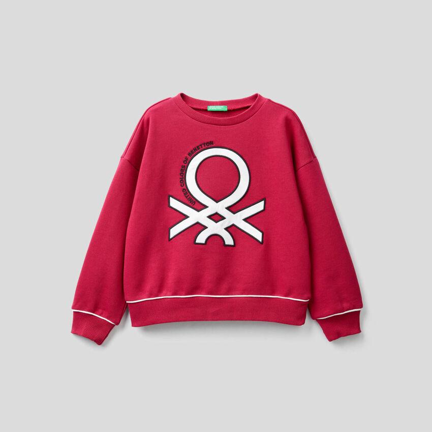 Sweatshirt in 100% Baumwolle mit glänzendem Logo