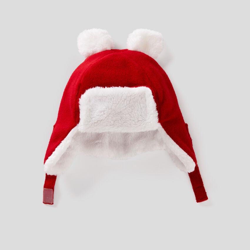 Fleece hat with fleece ear flaps