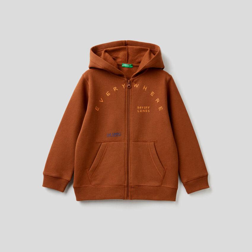 Zip-up printed hoodie
