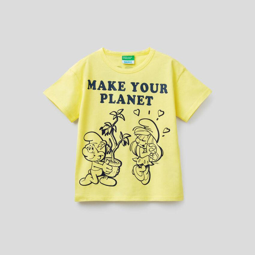T-shirt jaune coupe boxy avec imprimé Les Schtroumpfs