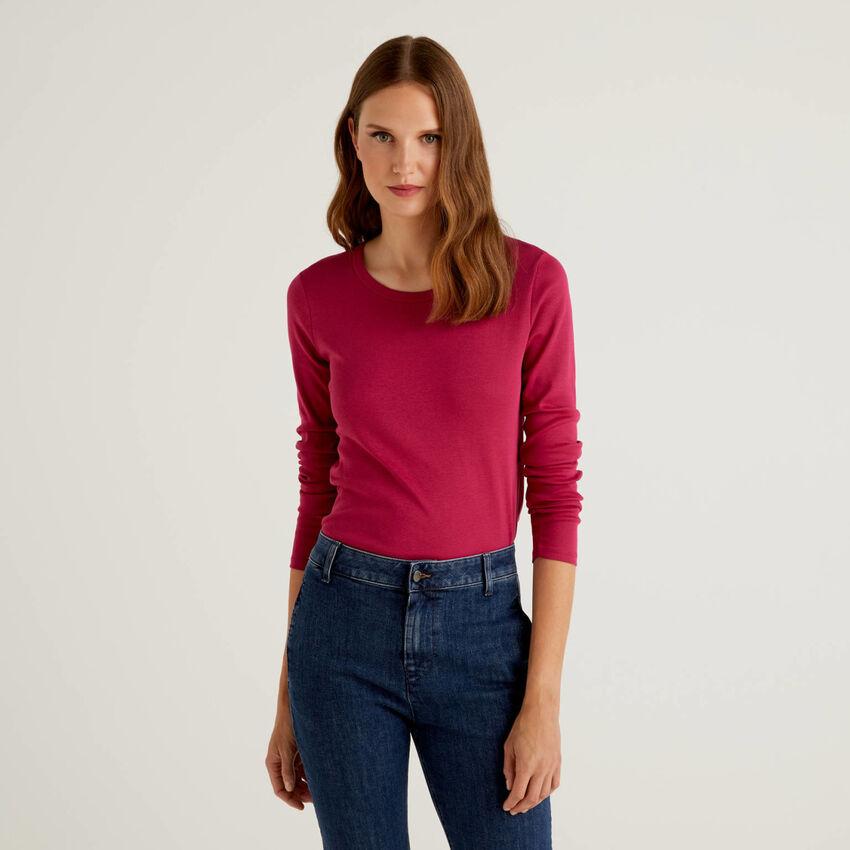 T-shirt à manches longues en pur coton