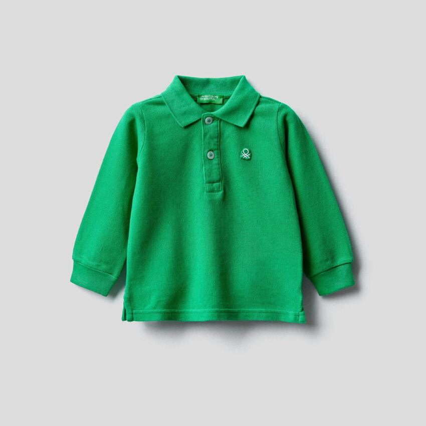 Long sleeve polo in organic cotton