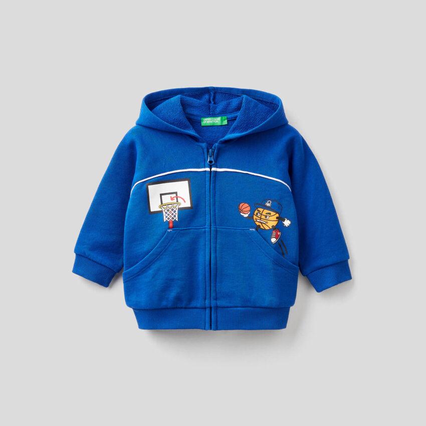 Zip-up hoodie in cotton