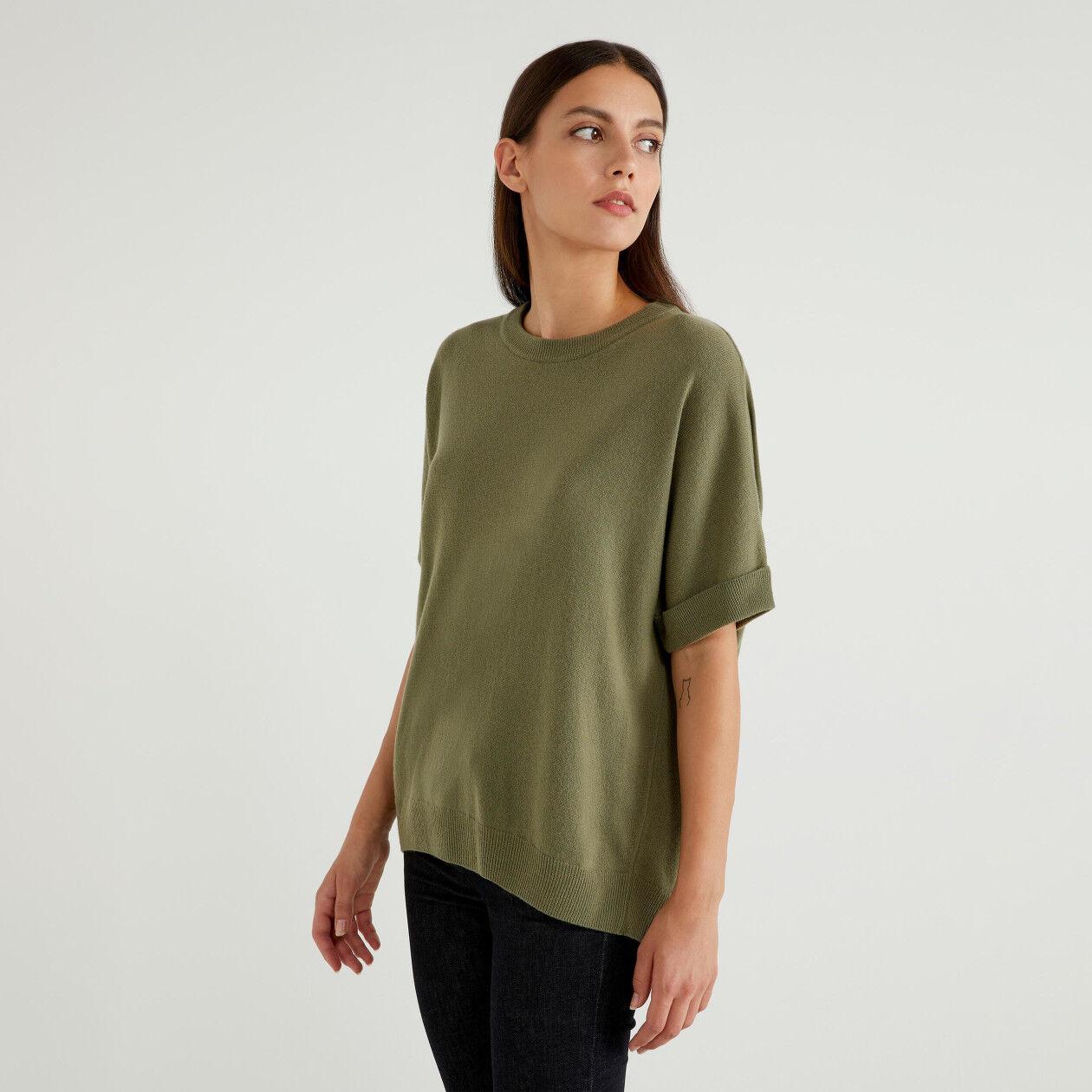 Pullover aus einer Wollmischung mit kurzen Ärmeln