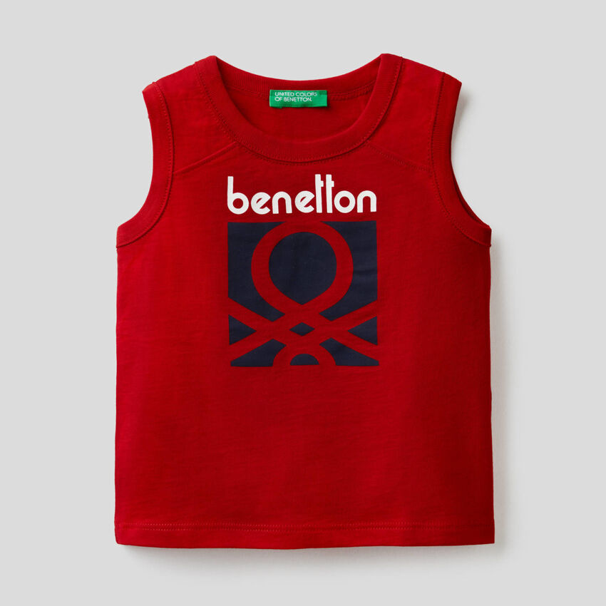 Red tank top with logo print