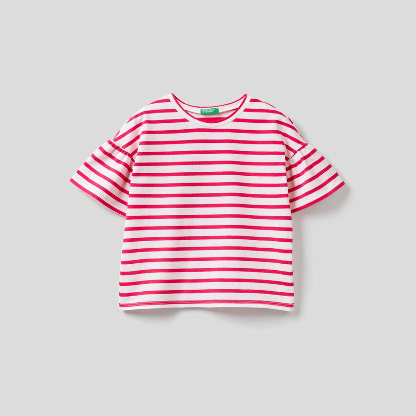 T-Shirt mit Streifenmuster in durchgefärbtem Garn
