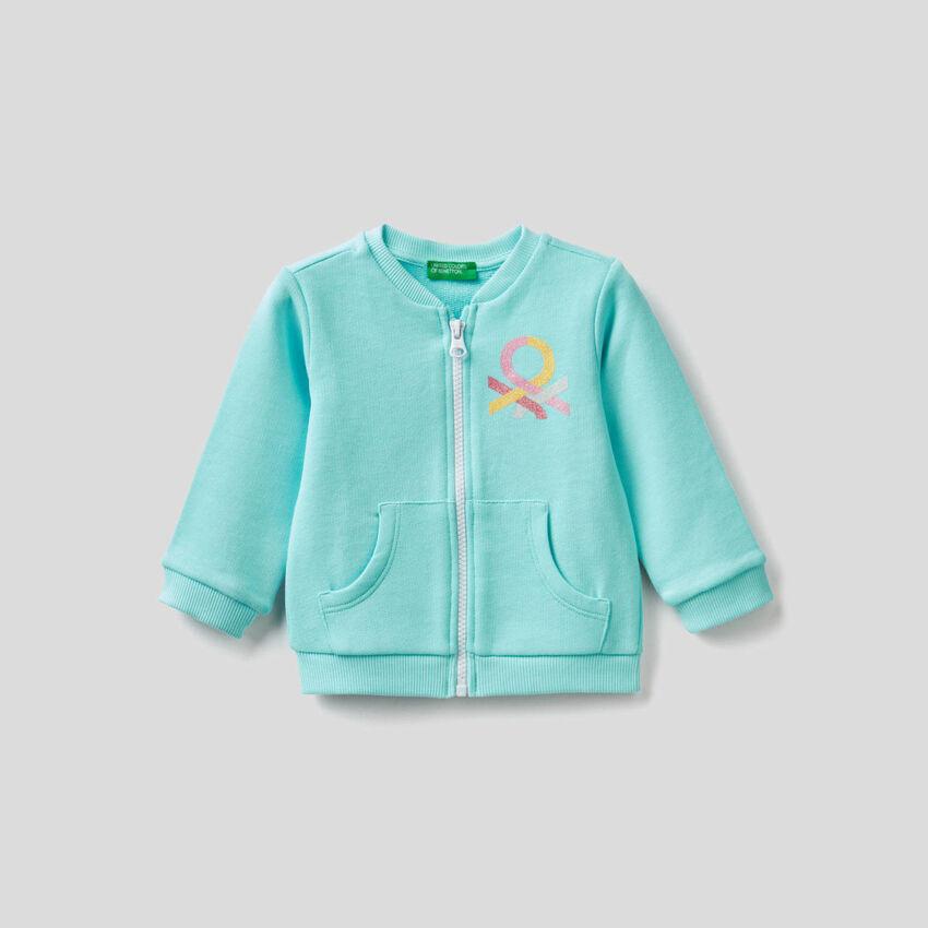 Sweatshirt with zip in organic cotton