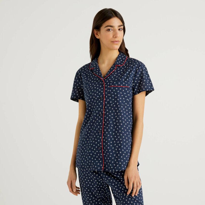 Chemise de pyjama en pur coton