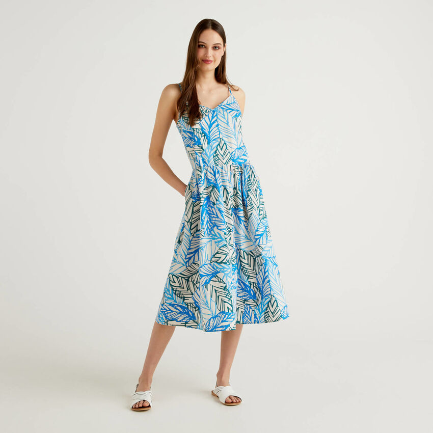 Trägerkleid aus Baumwolle mit Print