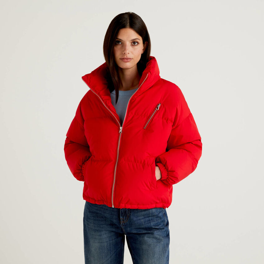 Short padded jacket with high neck