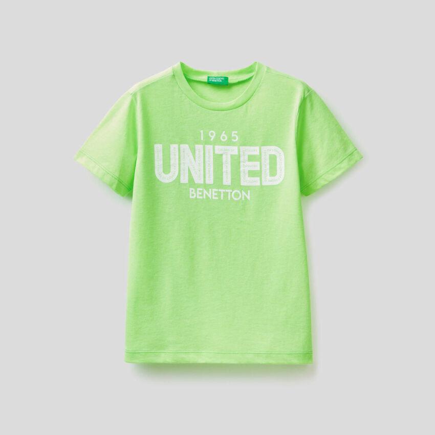 T-shirt fluo avec logo imprimé