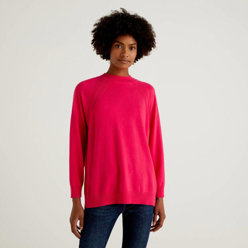 Fuchsiafarbener Pullover in einer Mischung aus Wolle und Cashmere